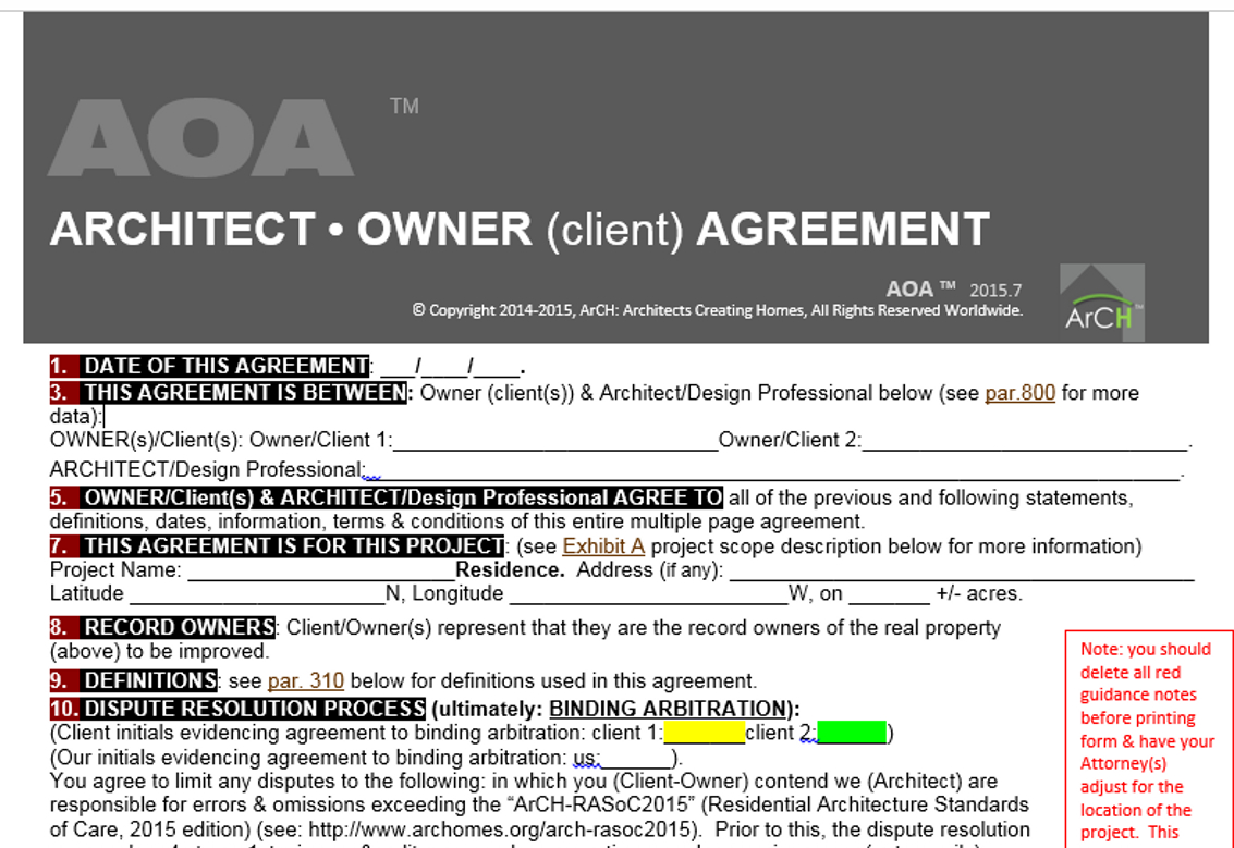 Architect owner agreement architects creating homes for Architect contract