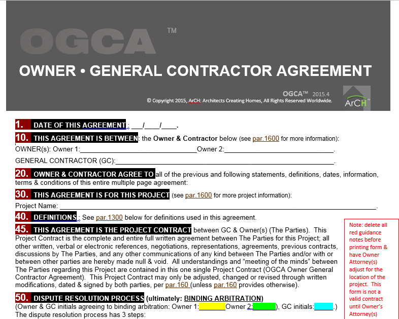 Owner General Contractor Agreement Architects Creating Homes